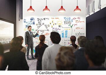 negócio, análise, em, um, escritório., 3d, fazendo