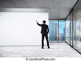 negócio, análise, em, um, escritório