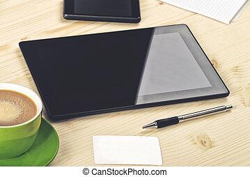 negócio, análise, tablete digital, ligado, escritório, tabela