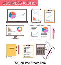 negócio, analytics, ícones escritório