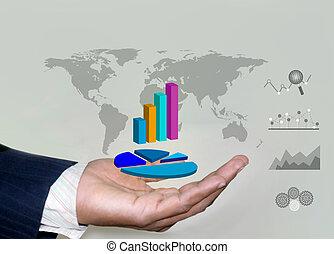 negócio, analytics, e, projeções