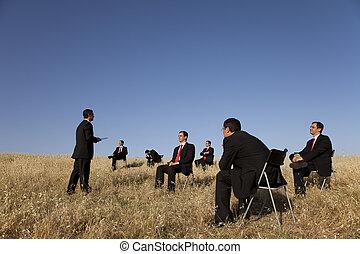 negócio, ao ar livre, treinamento