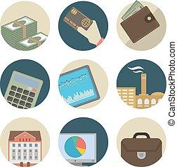 negócio, apartamento, ícones