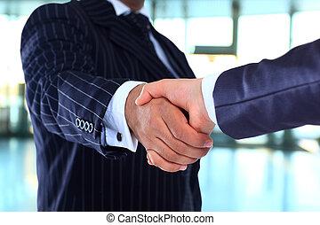 negócio, aperto mão, e, pe negócio
