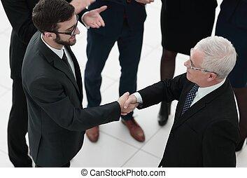 negócio, aperto mão, e, pessoas negócio, conce