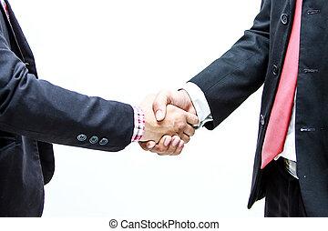 negócio, aperto mão, e, pessoas negócio