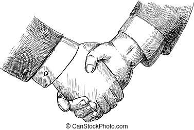 negócio, aperto mão