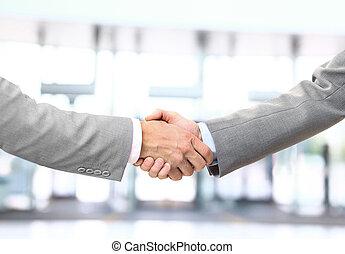 negócio, aperto mão, isolado, fundo