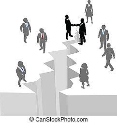 negócio aperto mão, pessoas, acordo, lacuna, fim