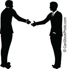 negócio, aperto mão, silueta