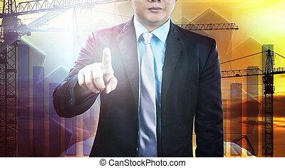 negócio, apontar, requeira, pessoa, engenharia, t, homem, dedo