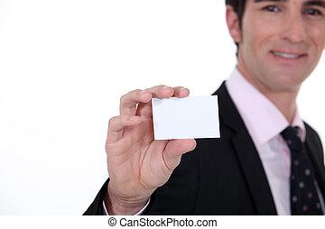 negócio, apresentando, cartão, homem