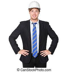 negócio, arquiteta, paleto, engenheiro, ou, homem