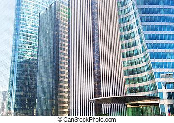 negócio, arranha-céus, arquitetura moderna
