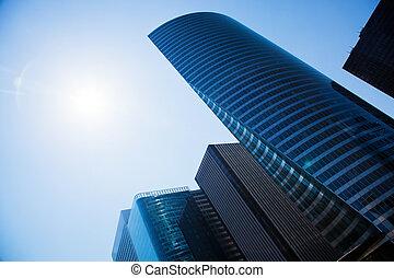 negócio, arranha-céus, modernos, archite