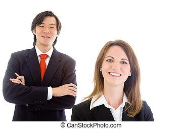 negócio, asiático, equipe, mulher, homem negócios, sorrindo