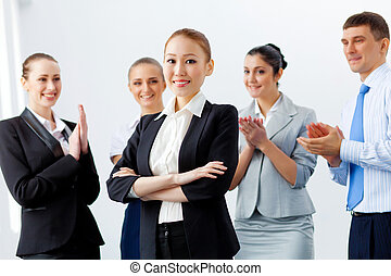 negócio asiático, mulher, com, colegas