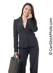 negócio asiático, mulher, ligado, telefone pilha