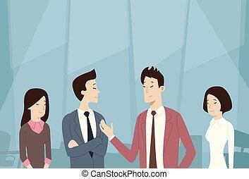 negócio asiático, pessoas, grupo, conversa equipe, comunicação, negociação