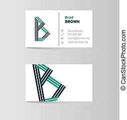 negócio, b, cartão, letra