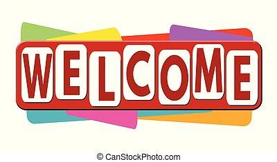 negócio, bandeira, ou, bem-vindo, etiqueta, promoção