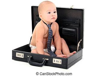 negócio, bebê, laço