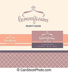 negócio, beleza, cartão, vetorial, identificação, salon., logotipo, hairdresser.