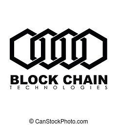 negócio, bloco, corrente, logotipo, illustration.