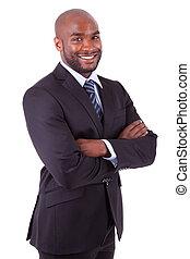 negócio, braços dobrados, americano, homem africano