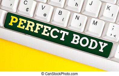 negócio, branca, escrita, experiência., dreamily, perfeitos, tendo, foto, estado, mostrando, saudável, pc, nota papel, acima, body., corporal, showcasing, forma, teclado