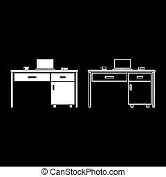 negócio, branca, tabela, material, esboço, cor, vetorial, telefone, jogo, imagem, apartamento, ilustração, laptop, assalte, estilo, ícone, desktop, chá