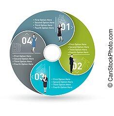 negócio, círculo, infographic