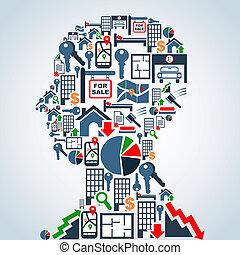 negócio, cabeça, propriedade, homem, mercado