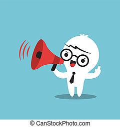 negócio, caricatura, personagem, com, megafone, fazer, um,...