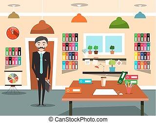 negócio, cartoon., escritório., vetorial, homem negócios, homem