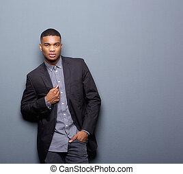 negócio, casaco, americano, pretas, homem africano, fresco