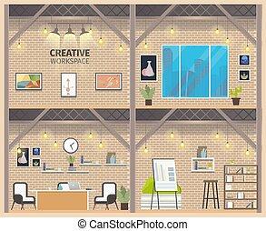 negócio, chão, dois, coworking, workspace, bandeira