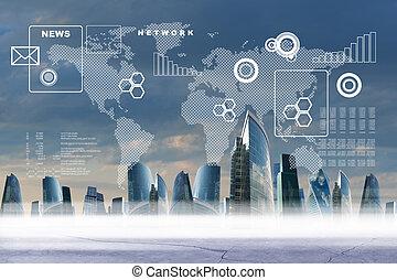 negócio, cidade, com, mapa mundial