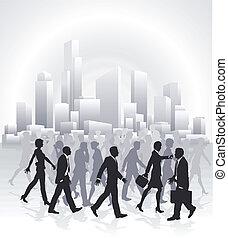 negócio cidade, pessoas, skyline, frente, apressar-se