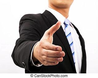 negócio, cima, mão, estender, abanar, fim, homem