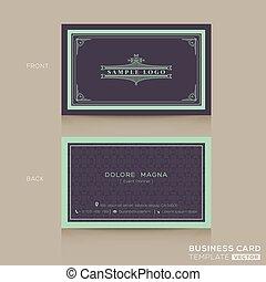 negócio, clássicas, vindima, modelo, cartão, namecard