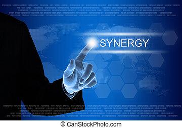 negócio, clicando, botão, mão, sinergia, tela toque