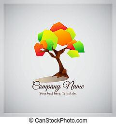 negócio, coloridos, companhia, árvore, logotipo, geomã©´ricas