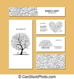 negócio, companhia, idéia, panificadora, desenho, cartões