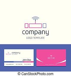 negócio, companhia, wifi, vetorial, desenho, logotipo, cartão