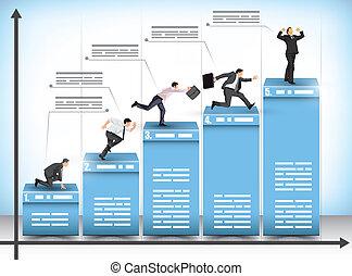 negócio, competição, gráfico de barras
