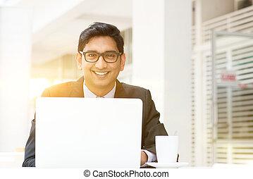 negócio, computador laptop, usando, café, homem