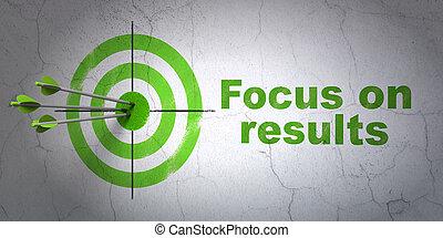 negócio, concept:, alvo, e, foco, ligado, resultados, ligado, parede, fundo