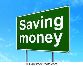 negócio, concept:, dinheiro saving, ligado, sinal estrada, fundo