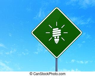 negócio, concept:, energia, poupar, lâmpada, ligado, sinal estrada, fundo